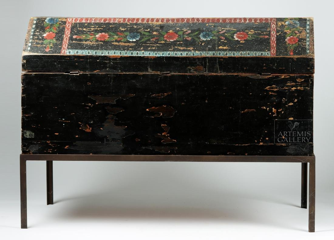 19th C. Spanish Colonial Chest Painted Birds & Flowers - 6