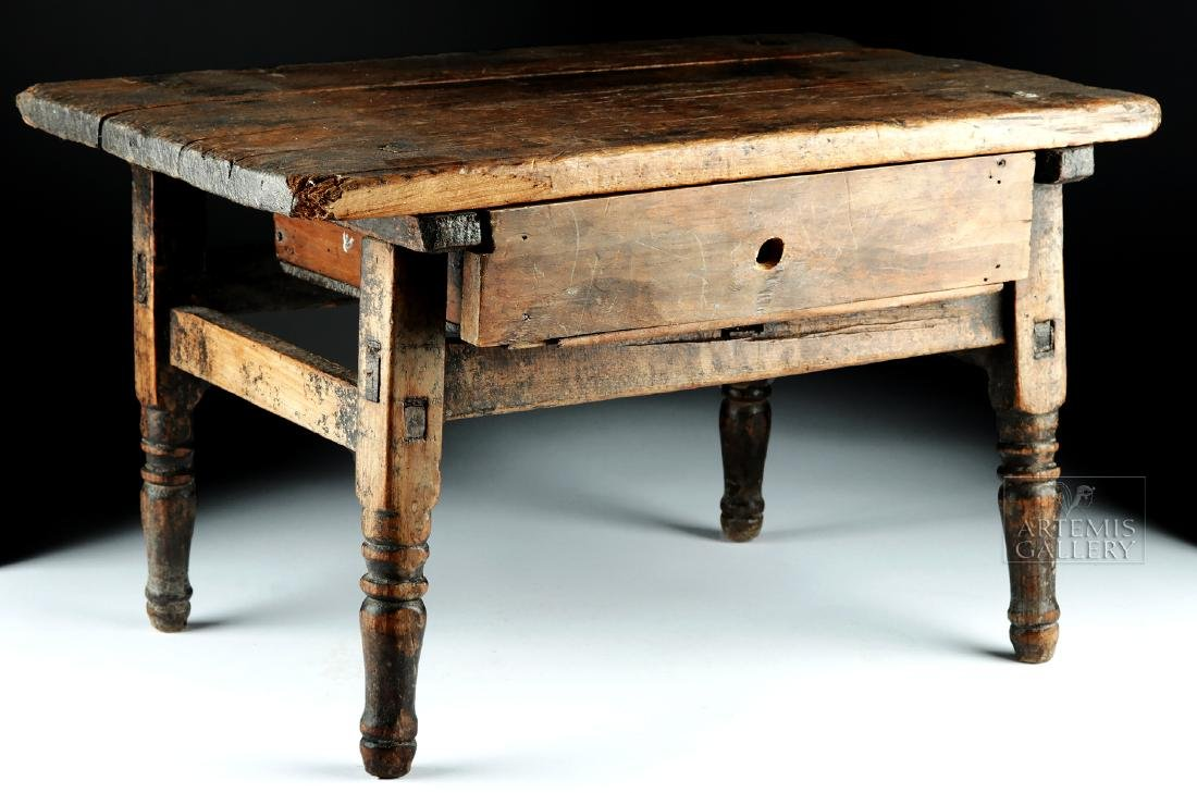 18th C. Spanish Colonial Wood Writing Desk, Child's