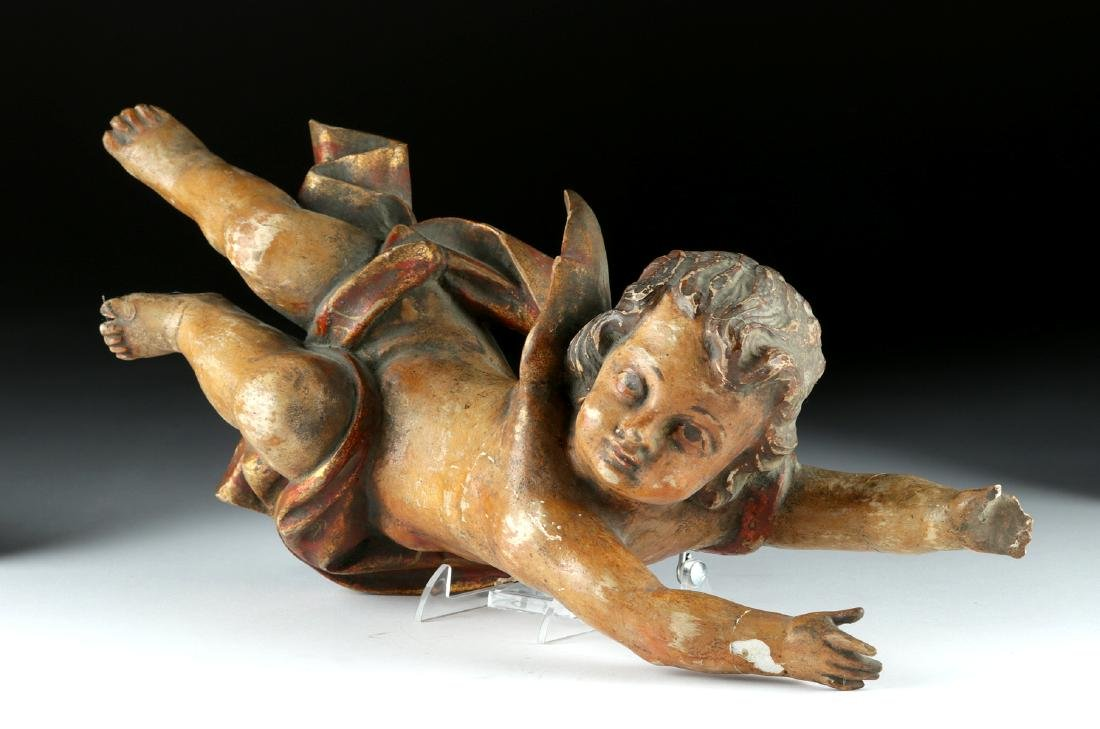 18th C. Italian Rococo Wood /Gesso Cherub Figure - 3