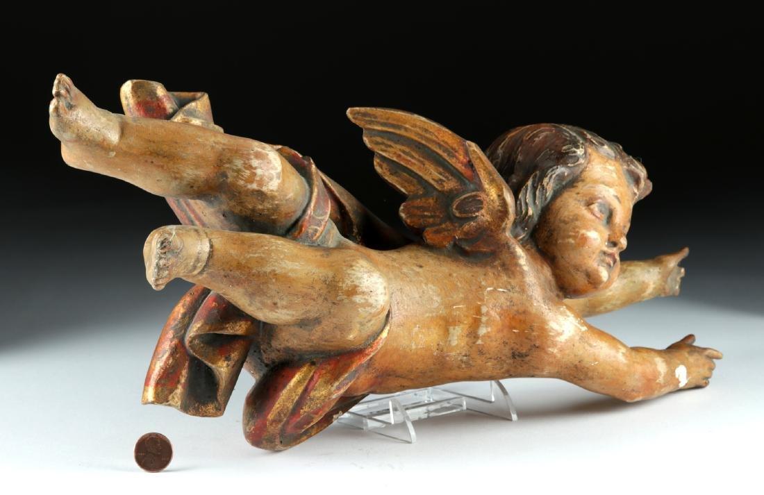18th C. Italian Rococo Wood /Gesso Cherub Figure - 4