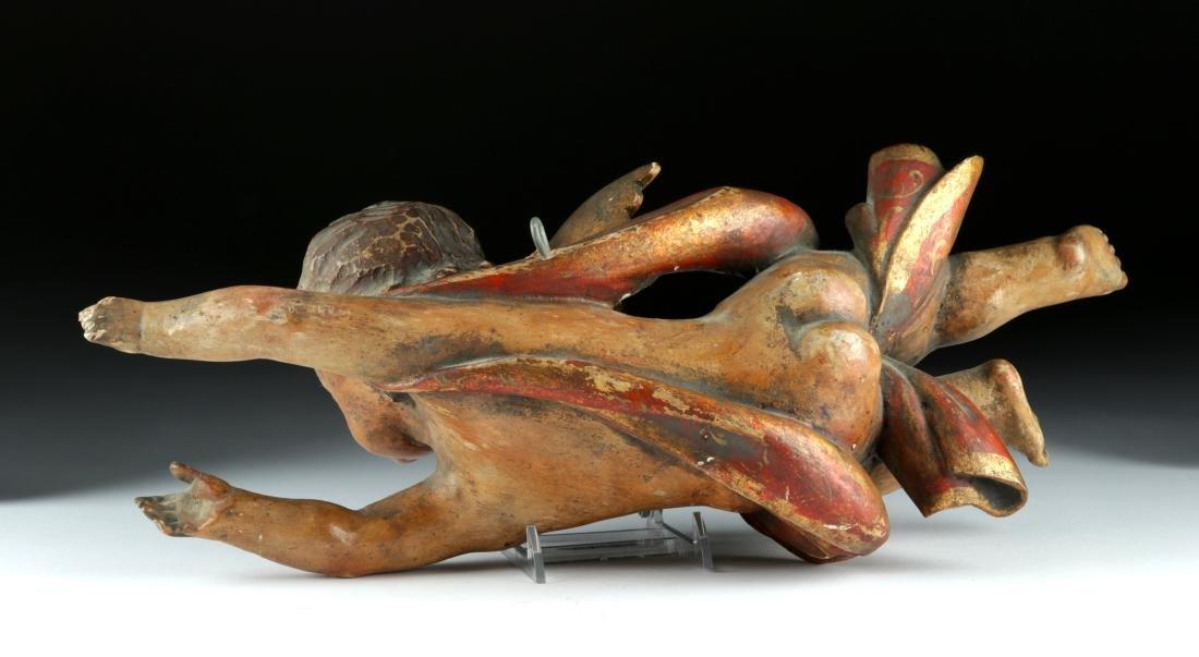 18th C. Italian Rococo Wood /Gesso Cherub Figure - 5