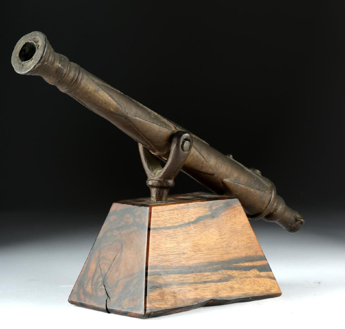 18th C. British Brass Signal Cannon, Swivel Mount - 2