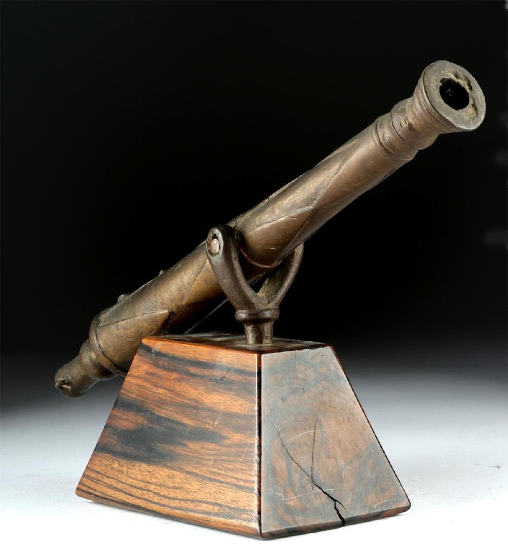 18th C. British Brass Signal Cannon, Swivel Mount - 4