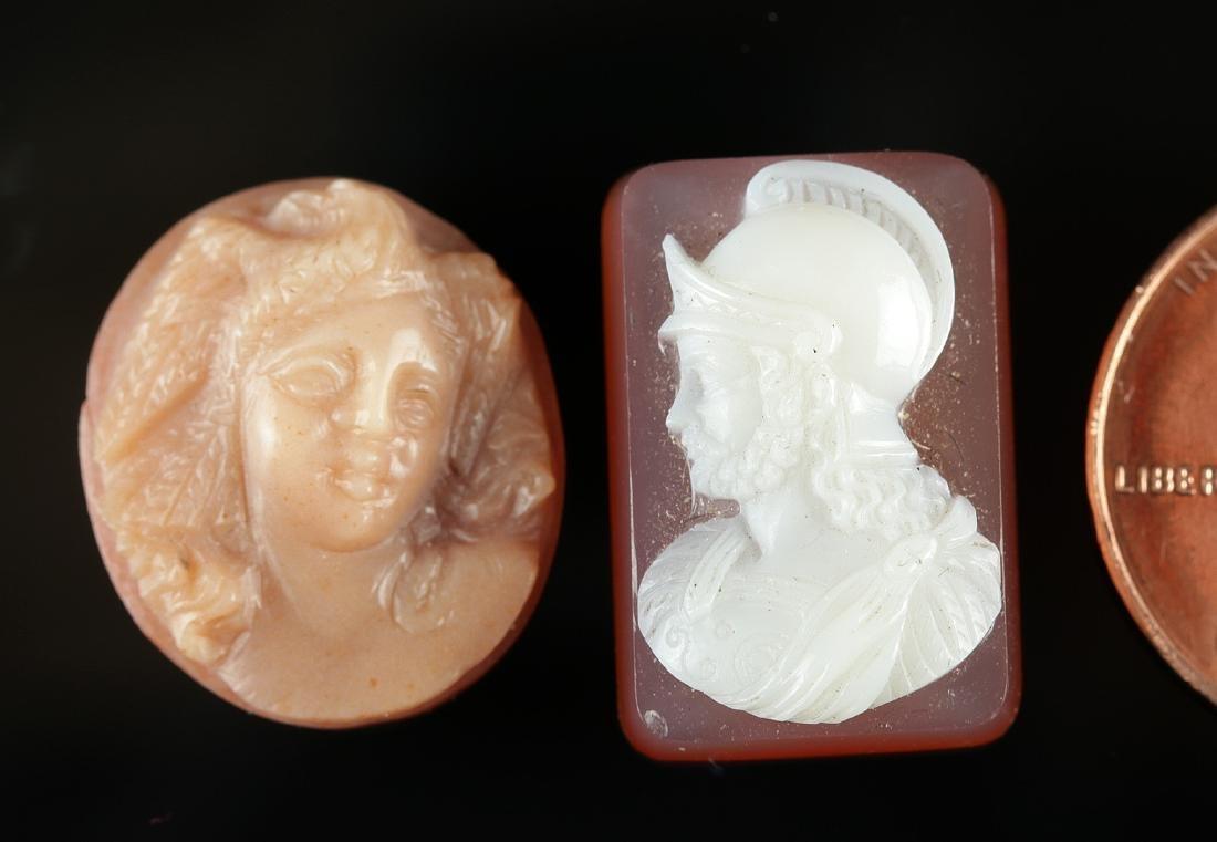 Pair of 19th C. Italian Carnelian / Shell Cameos