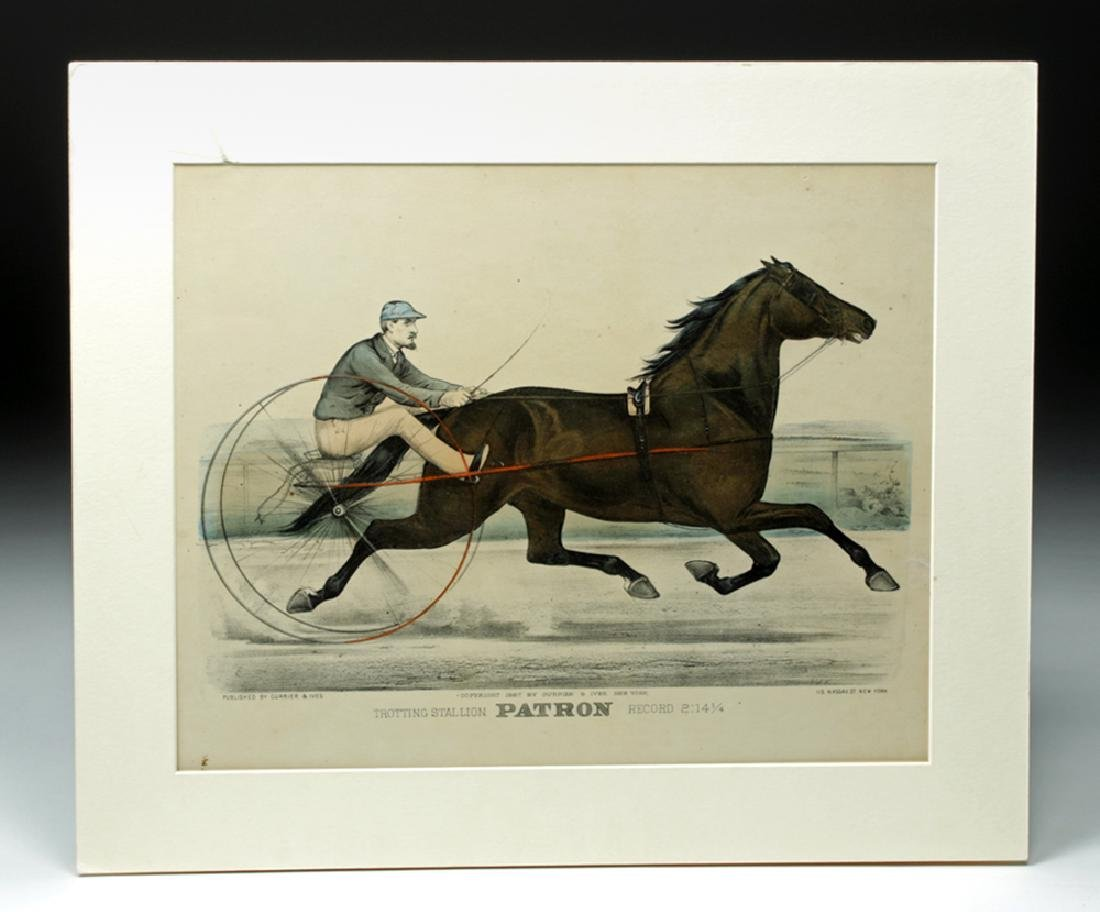 """Currier & Ives, """"Trotting Stallion Patron"""", 1887"""
