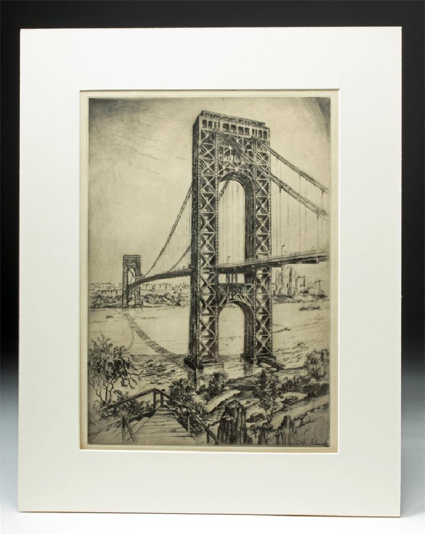 "Signed Schutz Etching ""George Washington Bridge"" 1920s"