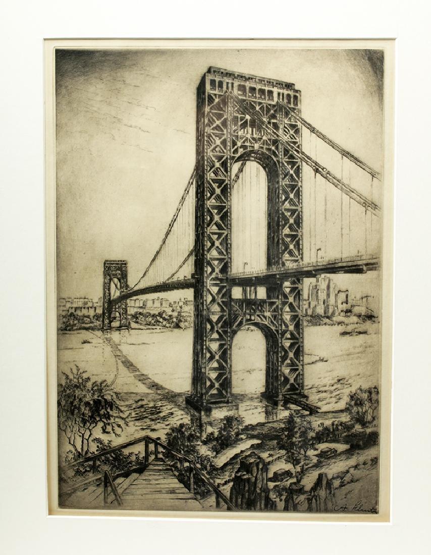 "Signed Schutz Etching ""George Washington Bridge"" 1920s - 2"