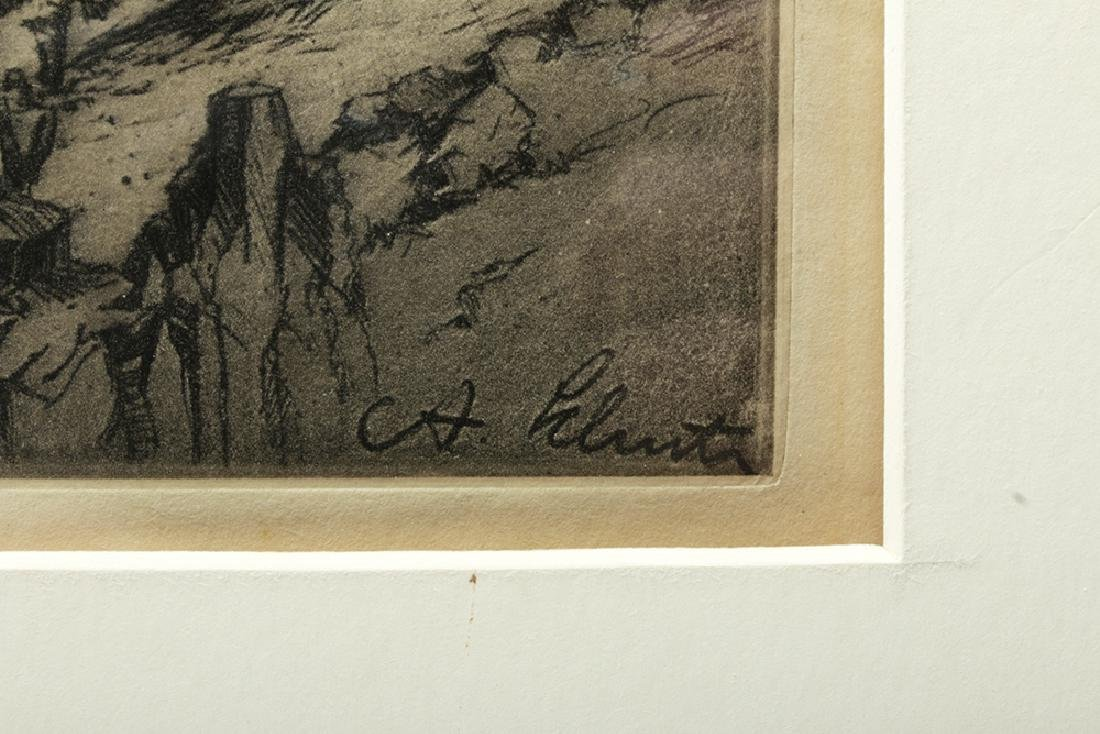 "Signed Schutz Etching ""George Washington Bridge"" 1920s - 3"