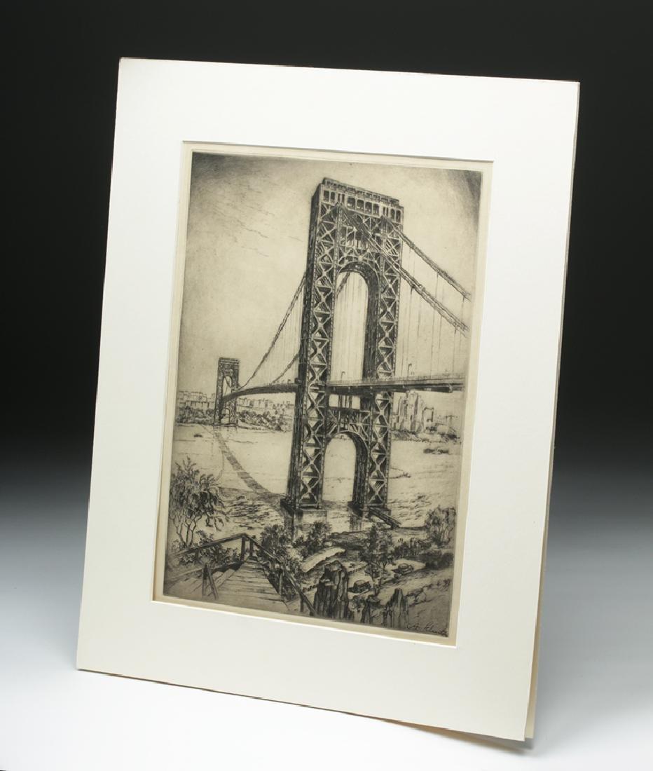 "Signed Schutz Etching ""George Washington Bridge"" 1920s - 4"