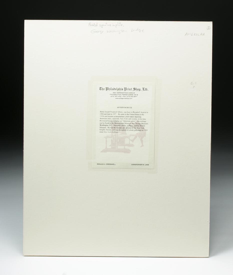 "Signed Schutz Etching ""George Washington Bridge"" 1920s - 5"