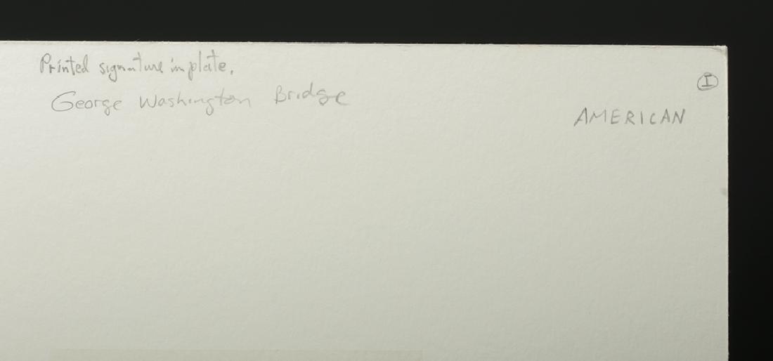 "Signed Schutz Etching ""George Washington Bridge"" 1920s - 7"