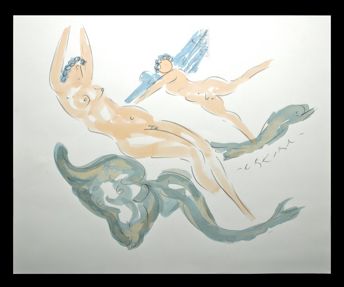 Signed Nakian Watercolor, Three Graces, ca. 1960s