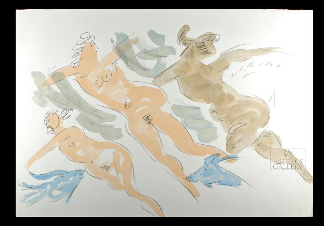 Signed Reuben Nakian Watercolor, Three Graces - 1960s