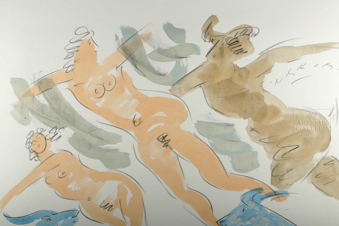Signed Reuben Nakian Watercolor, Three Graces - 1960s - 3