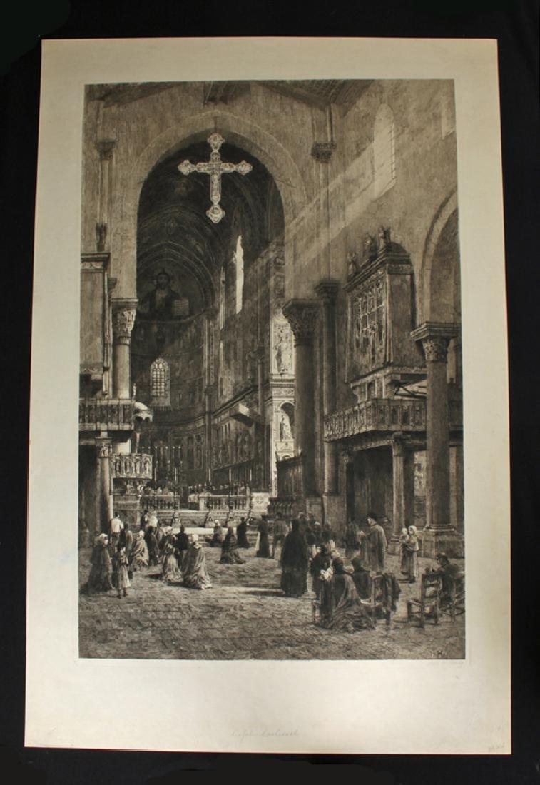 "Signed Haig Aquatint, ""Cefalu Cathedral"" 1901"