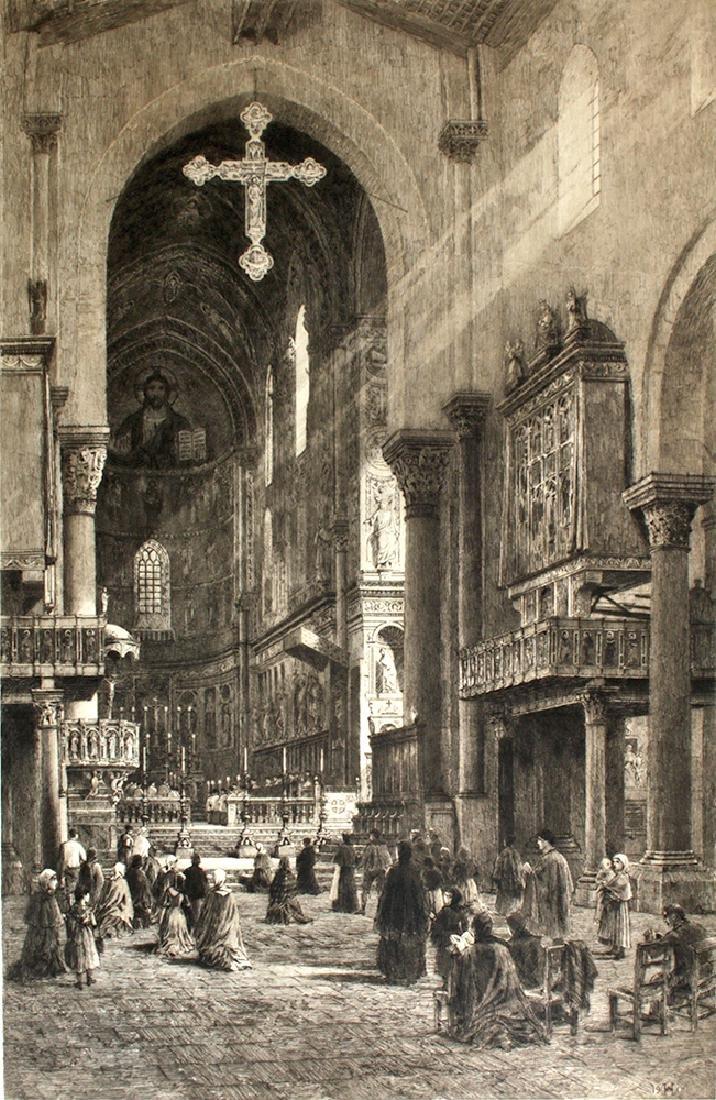 "Signed Haig Aquatint, ""Cefalu Cathedral"" 1901 - 2"