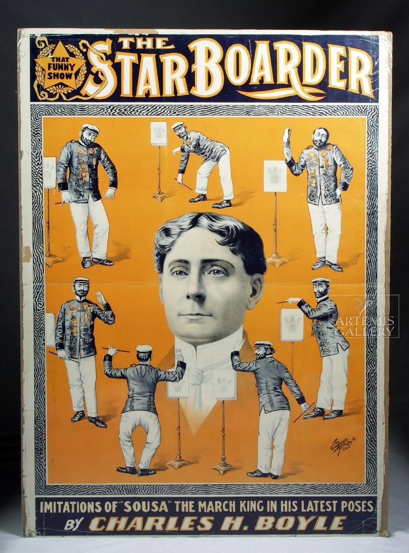 19th C. Poster - The Star Boarder Imitations of Sousa