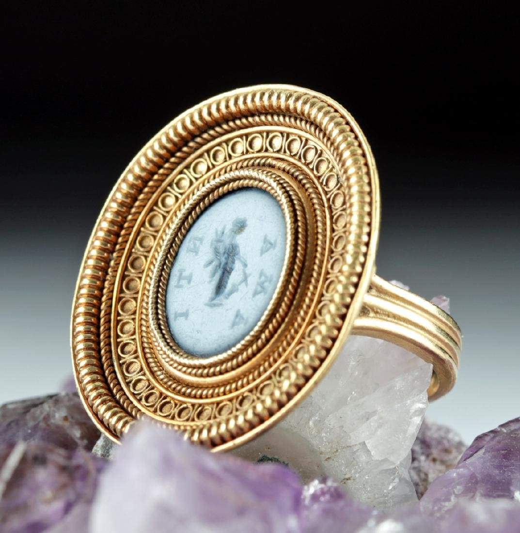 Roman Paste Glass Intaglio w/ 18K Gold Ring, 10.5 g