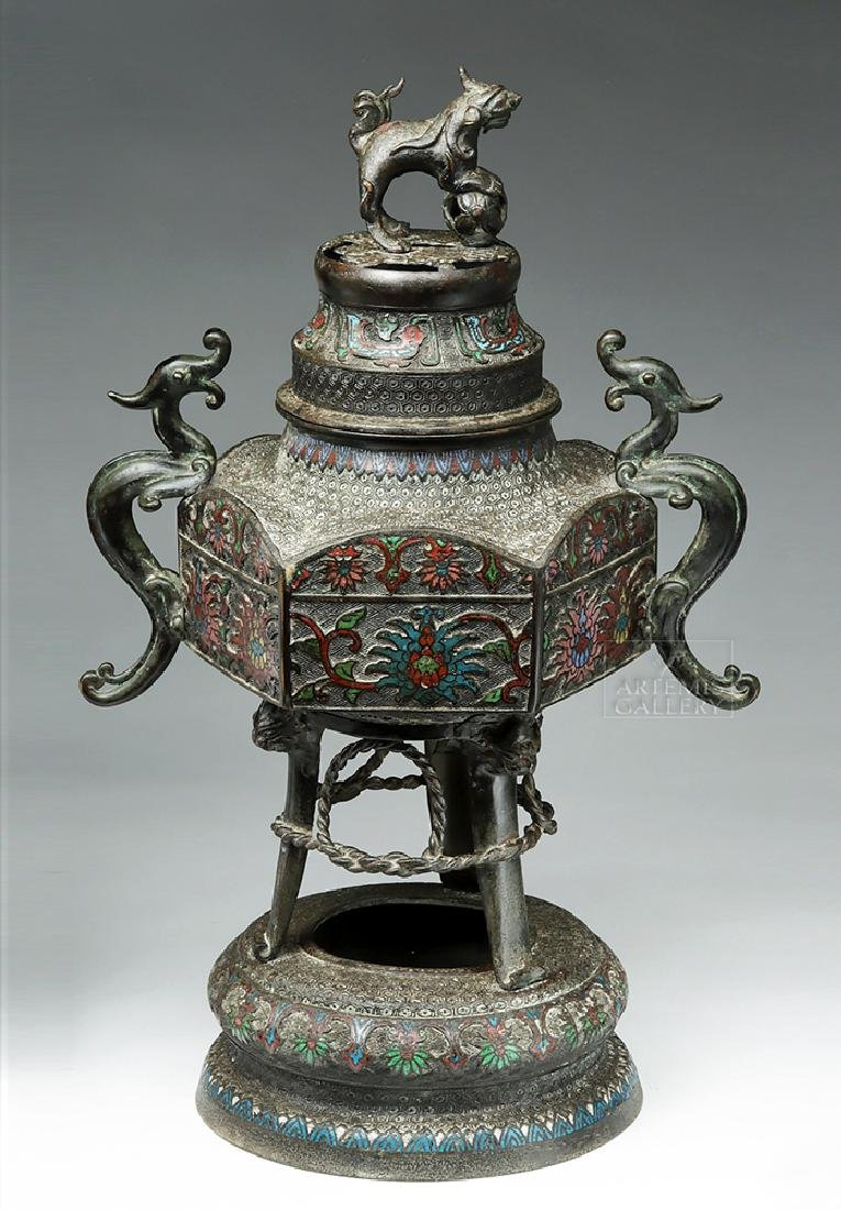 Chinese Qing Dynasty Bronze / Cloisonne Brazier