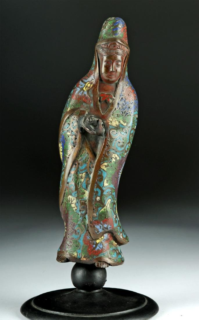 Early 20th C. Chinese Bronze Champleve Enamel Guanyin