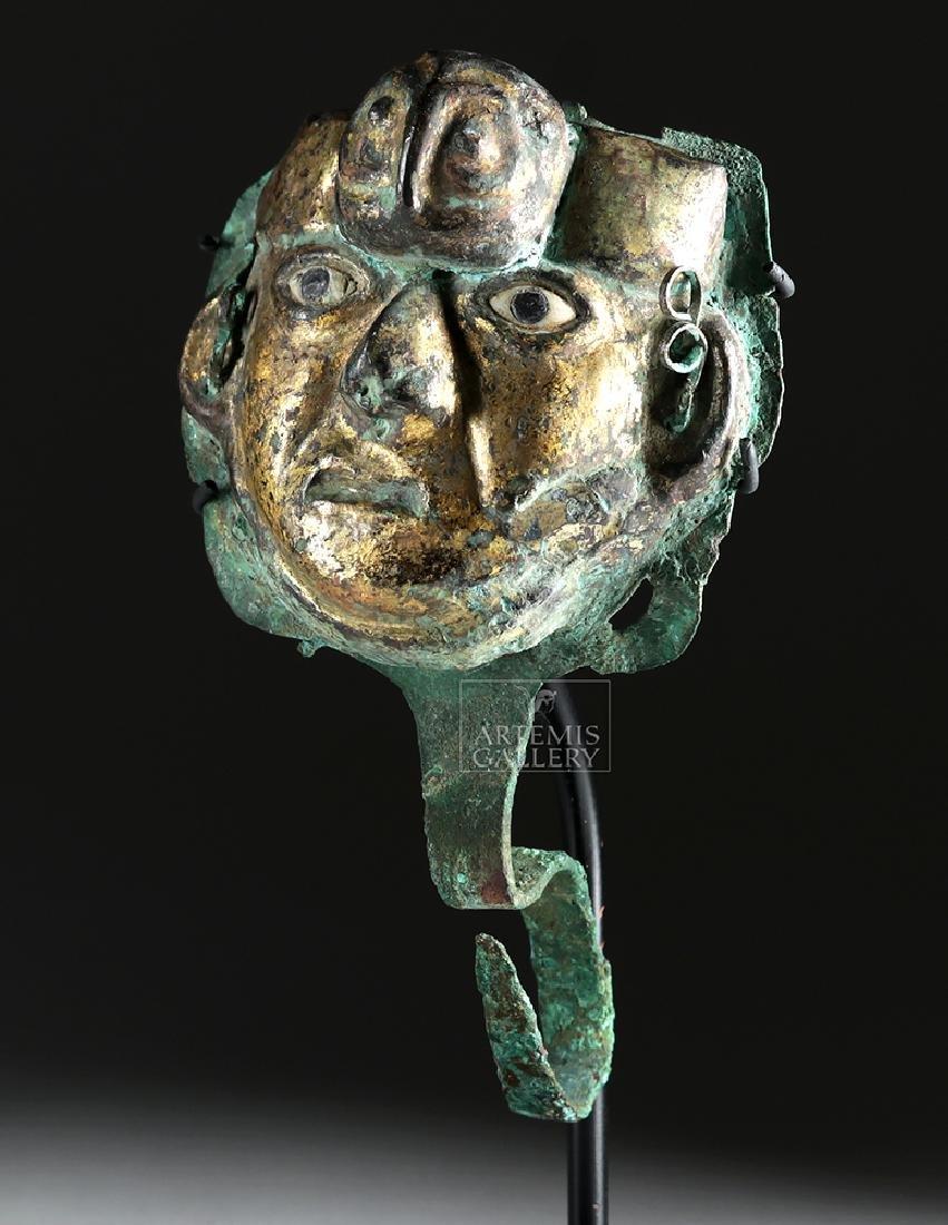 Moche Gilded Copper Headdress Ornament - Owl Face