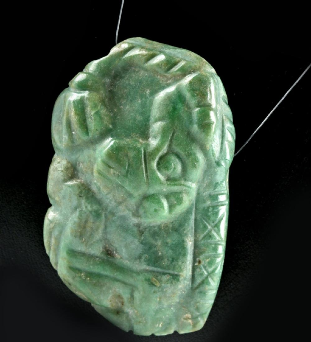 Mayan Carved Jade Pendant - Mythical Being