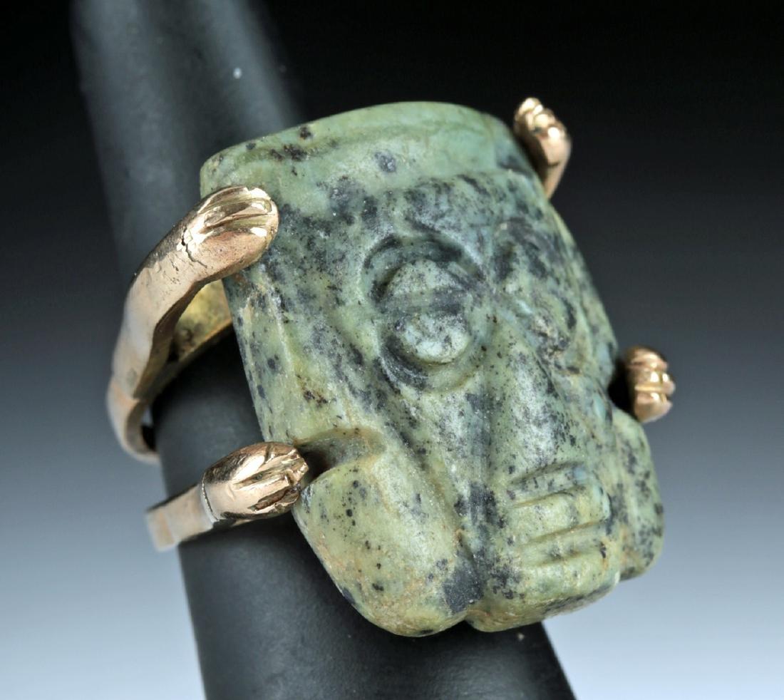 12K Gold Ring w/ Mixtec Greenstone Penate Face