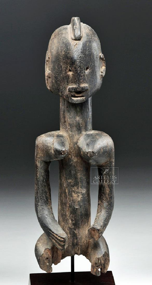 Late 19th C. African Dogon Wooden Seated Female Figure - 2