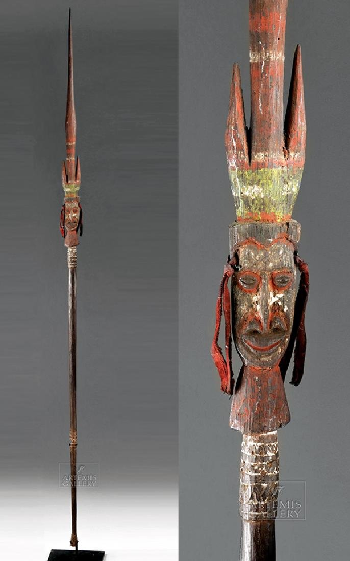 Rare 20th C. Papua New Guinea Wooden Spear with Face