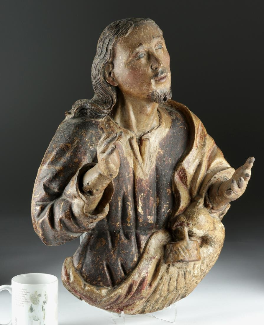 19th C. Spanish Colonial Wood Carving of Christ