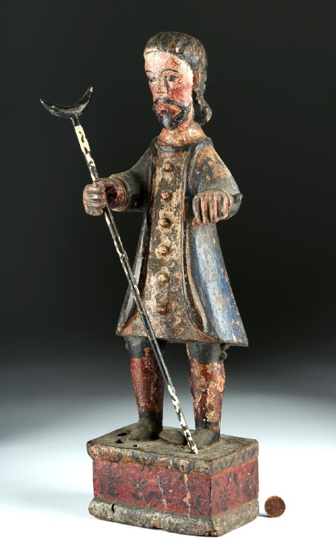 19th C. Spanish Colonial Painted Wood Santo Figure