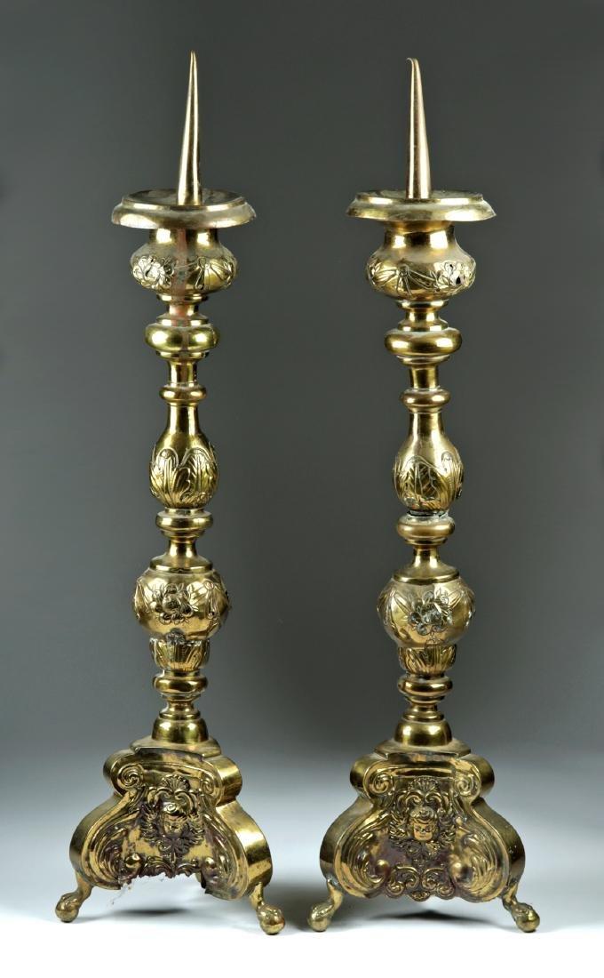 18th C. European Brass on Wood Candlestick Holders (pr)