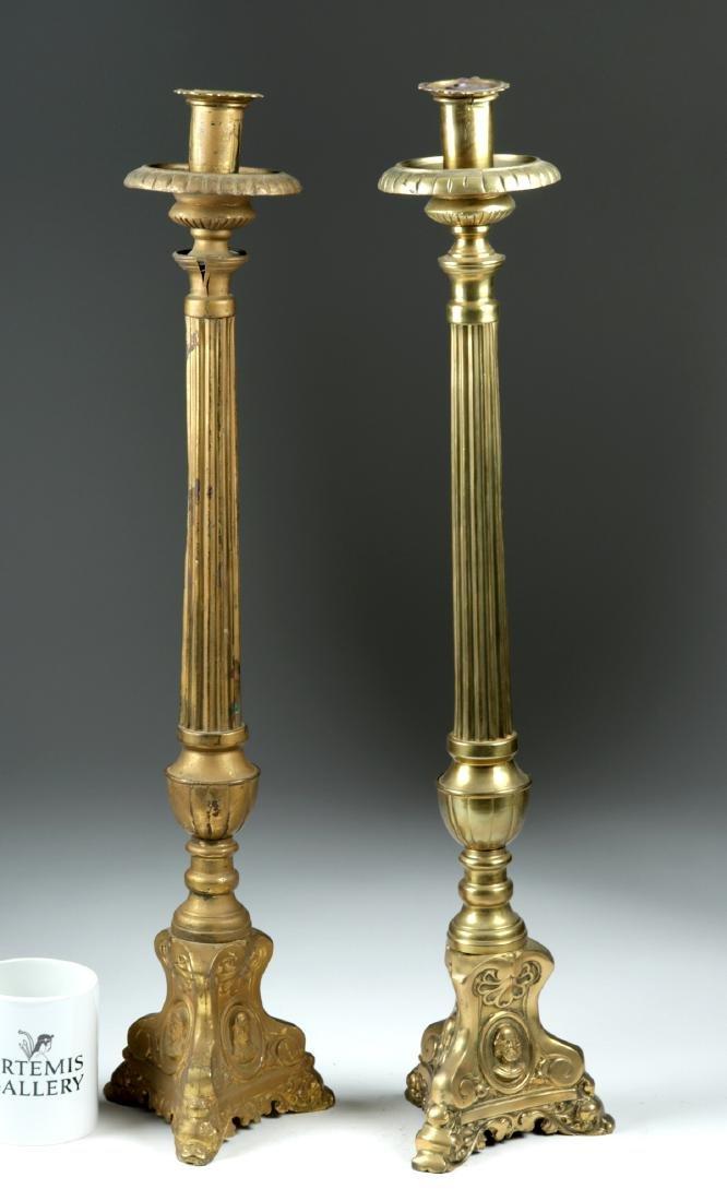 18th C. Large European Brass Candlestick Holders (pr)
