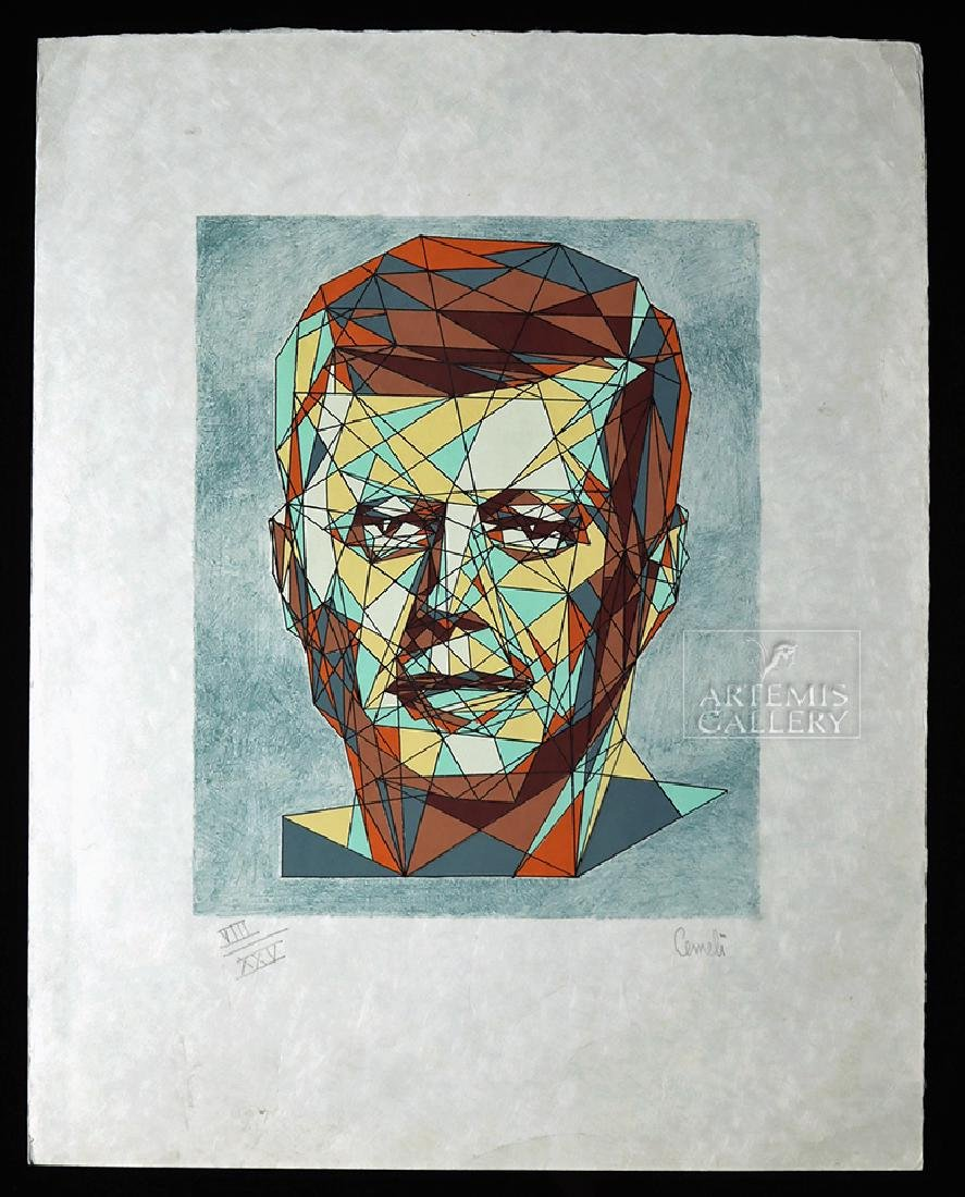 Cemeli Color Lithograph of John F. Kennedy, 1960s