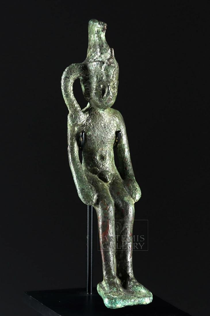 Egyptian Bronze Figurine of Seated Pharaoh