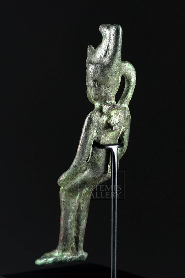 Egyptian Bronze Figurine of Seated Pharaoh - 3