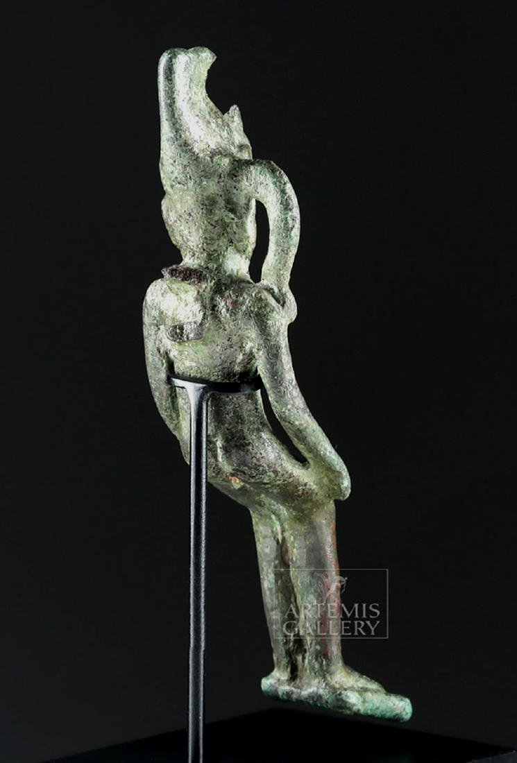 Egyptian Bronze Figurine of Seated Pharaoh - 4