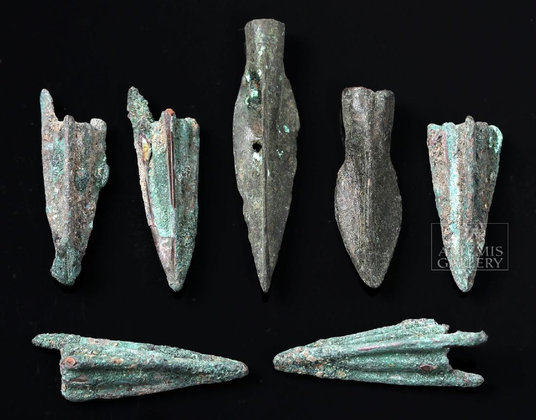 Seven Greek Bronze Trilobate Socketed Arrowheads - 2