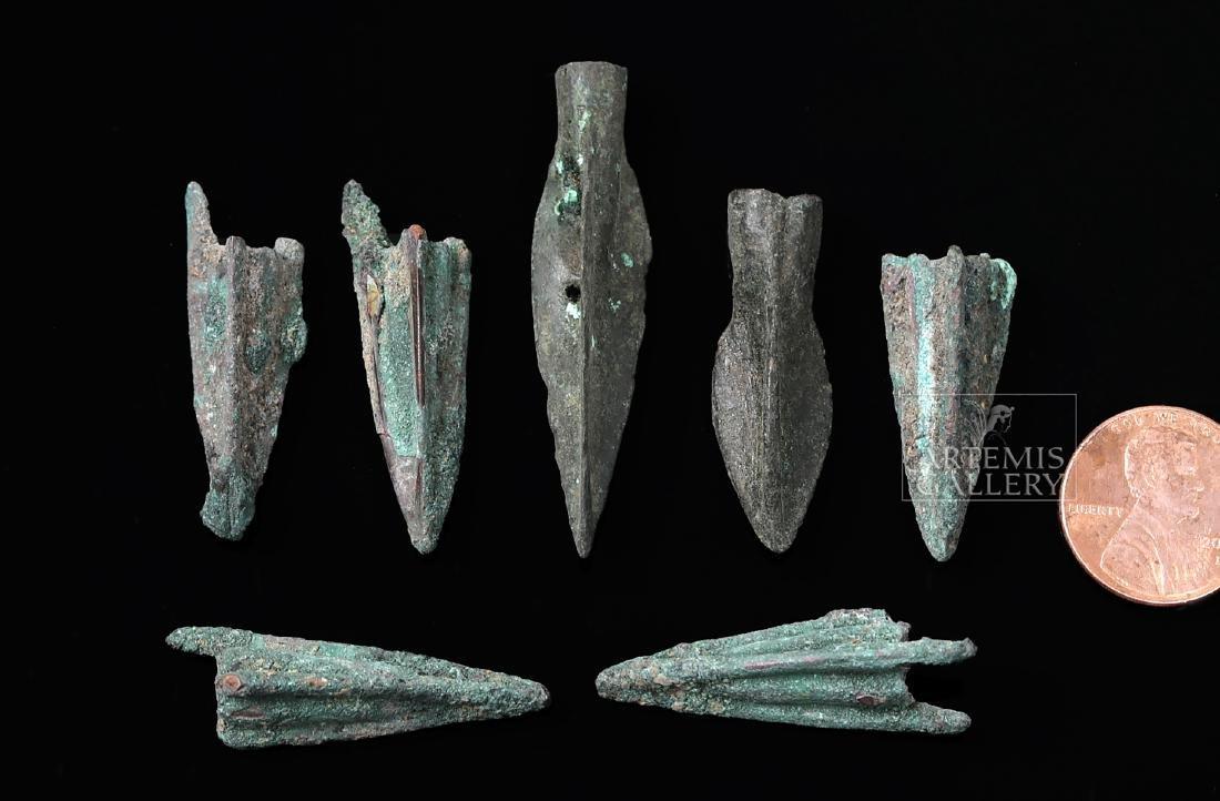Seven Greek Bronze Trilobate Socketed Arrowheads - 3