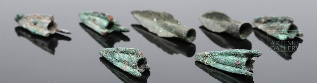 Seven Greek Bronze Trilobate Socketed Arrowheads - 4