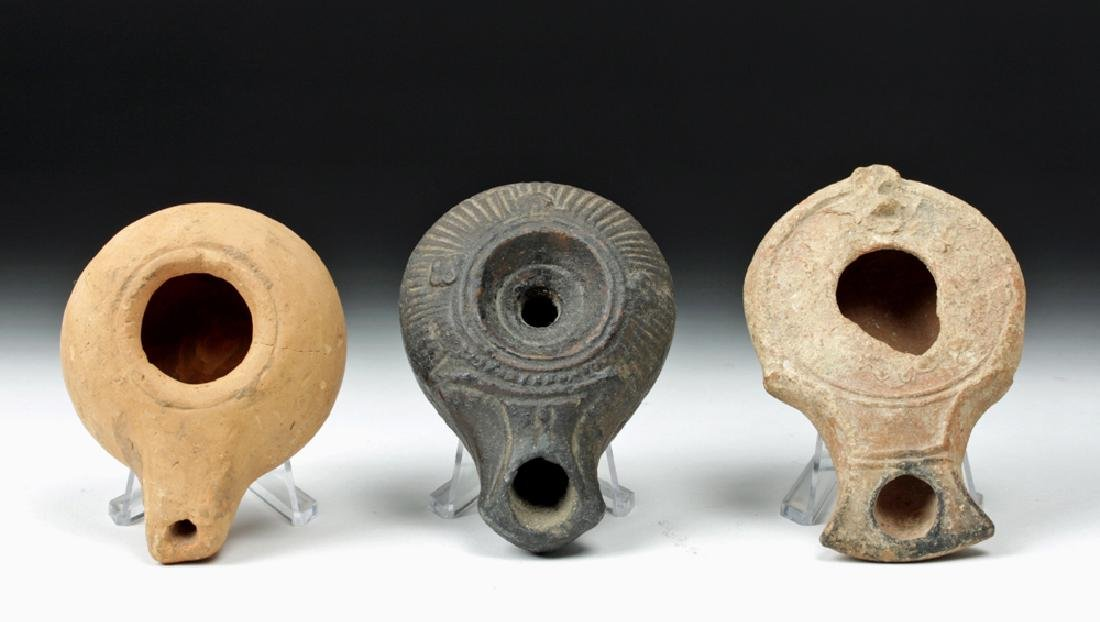 Trio of Graeco-Roman Pottery Oil Lamps