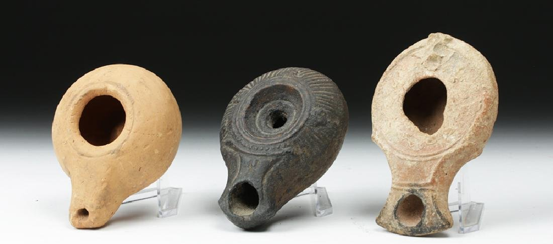 Trio of Graeco-Roman Pottery Oil Lamps - 2