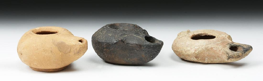 Trio of Graeco-Roman Pottery Oil Lamps - 4