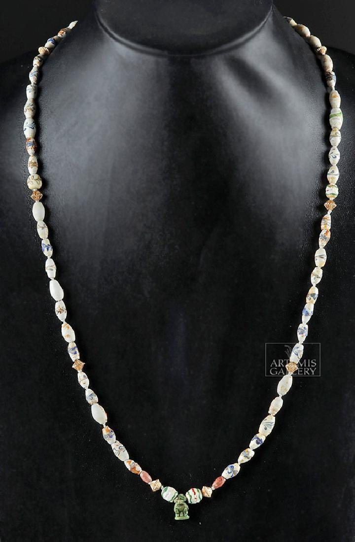 Ancient Roman & Egyptian Glass & Faience Bead Necklace - 2