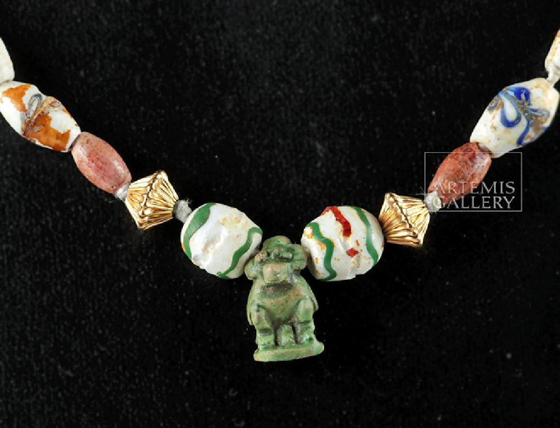 Ancient Roman & Egyptian Glass & Faience Bead Necklace - 3