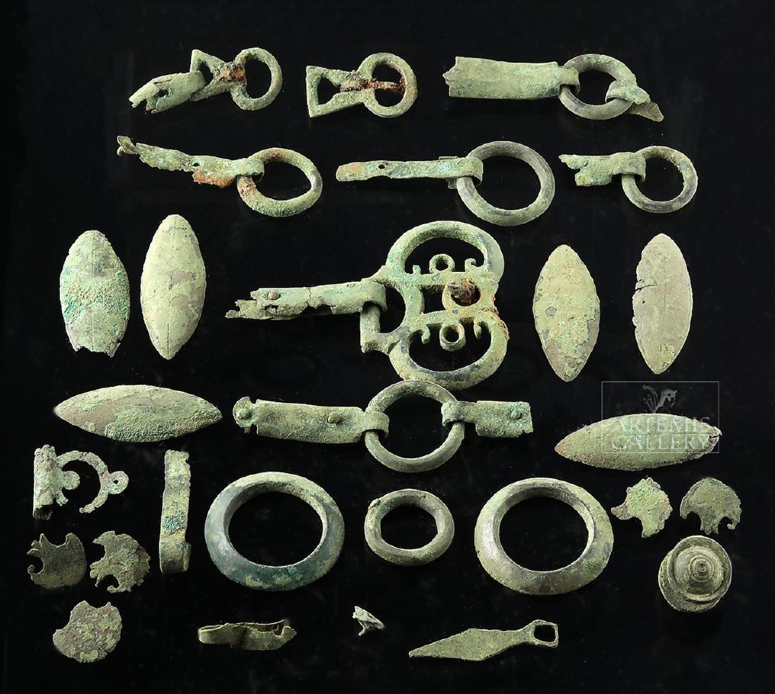 Lot of 28 Roman Bronze Belt / Harness Components