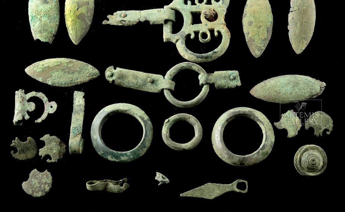 Lot of 28 Roman Bronze Belt / Harness Components - 3