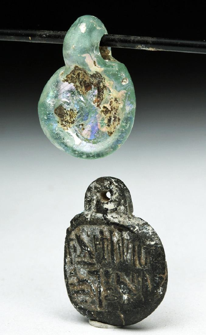 Pair of Roman Pendants - Glass & Faience - 2