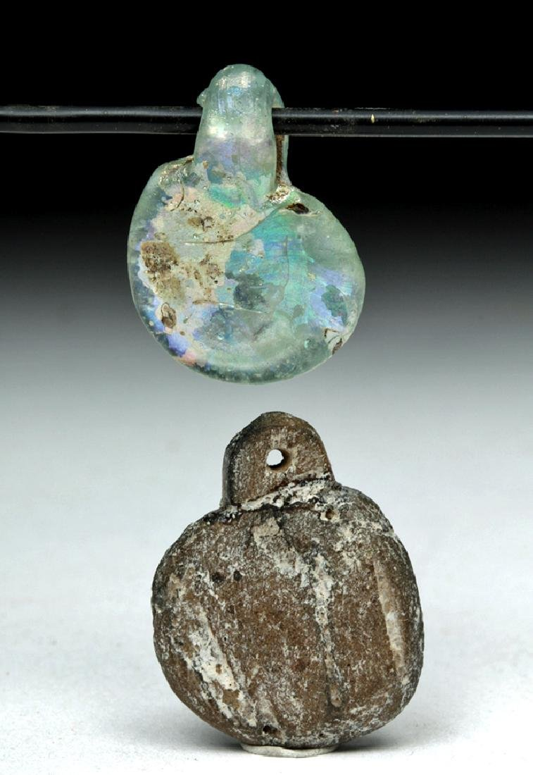 Pair of Roman Pendants - Glass & Faience - 3