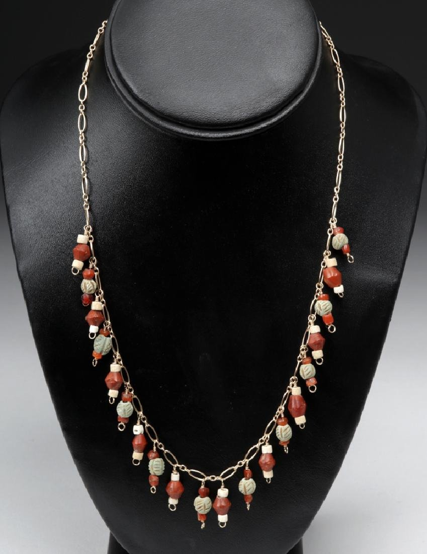 Sumerian Carnelian, Faience, & Paste Glass Necklace